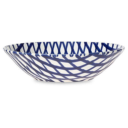 Net & Stripe Net Pasta Bowl, Blue