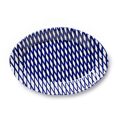 Net & Stripe Oval Net Platter, Blue