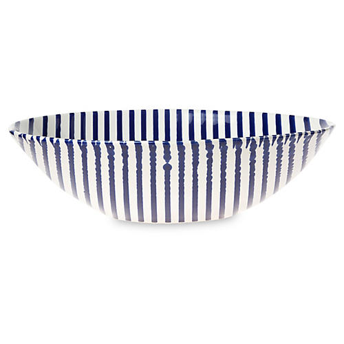 Net & Stripe Stripe Serving Bowl, Blue
