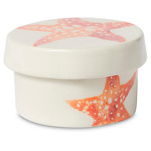 Costiera Starfish Round Box, Coral