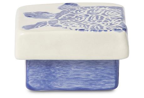 Costiera Turtle Square Box, Blue