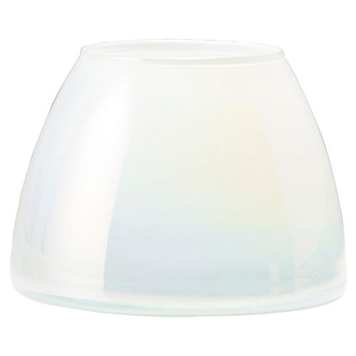 Italian Glass Votive, White