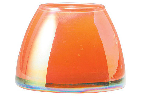 Italian Glass Votive, Orange