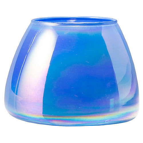 Italian Glass Votive, Blue