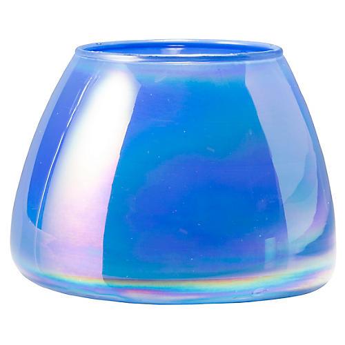 Italian Glass Votive, Blue