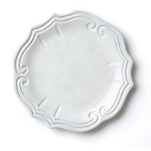 Incanto Baroque European Dinner Plate, White