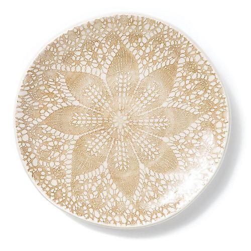S/4 Lace Dessert Plates, Natural