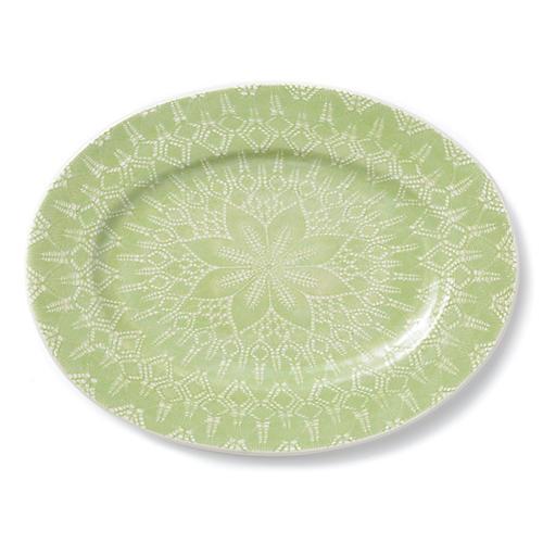 Lace Rimmed Oval Platter, Pistachio