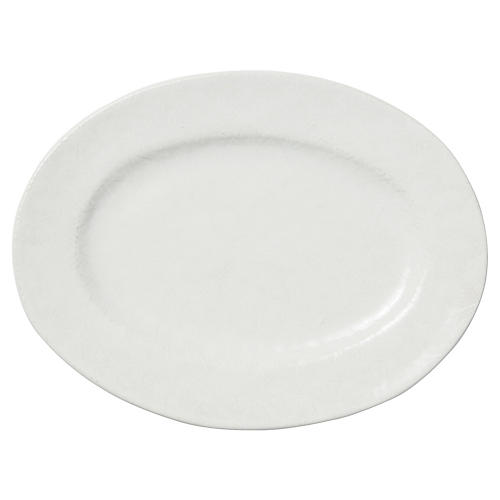 Lace Rimmed Oval Platter, White