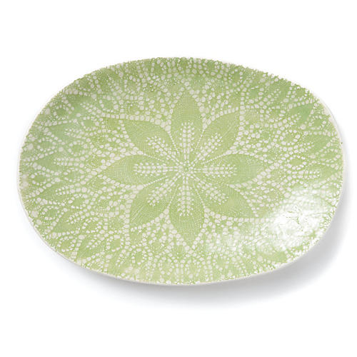 Lace Oval Platter, Light Pistachio