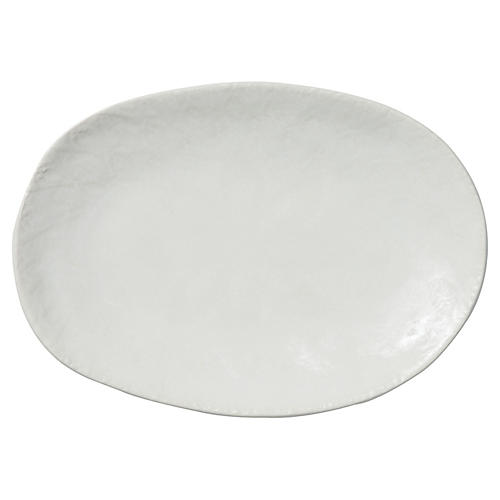 Pebbled Oval Platter, White