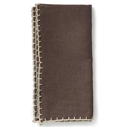 S/4 Whipstitch Napkins, Chocolate/Natural