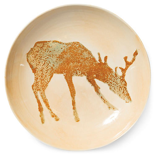 Foresta Deer Bowl, Ivory/Multi