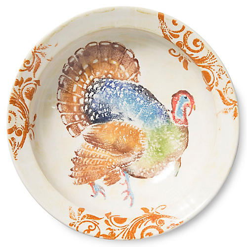Gather Turkey Medium Bowl, Ivory/Multi