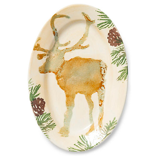 Foresta Moose Oval Tray, Ivory/Multi