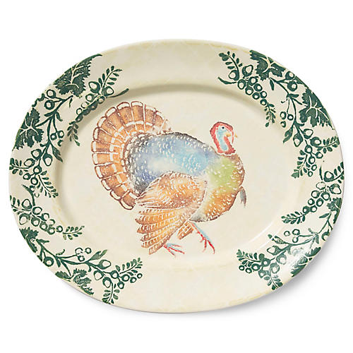 Gather Turkey Large Platter, Ivory/Multi