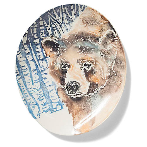 Into the Woods Bear Oval Platter, Brown/Multi