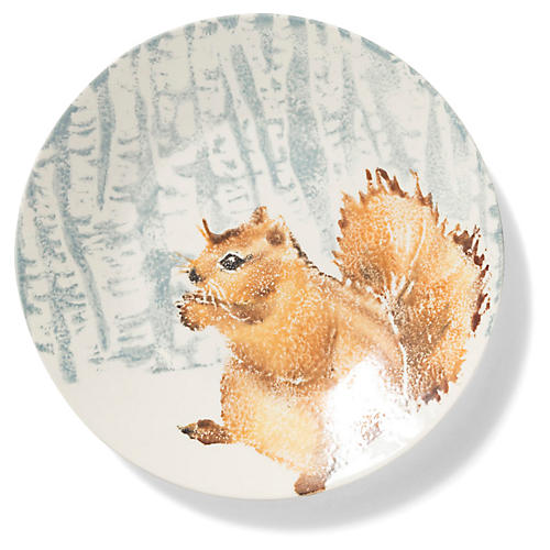 Into the Woods Squirrel Small Round Platter, Brown