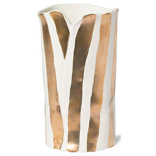"""11"""" Scattered Striped Vase, White/Gold"""