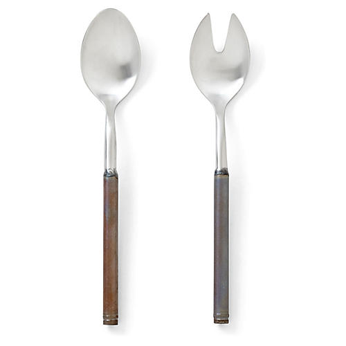 Asst. of 2 Fuoco Salad Servers, Brown/Multi