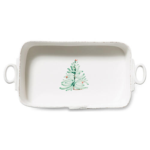 Lastra Rectangular Baker, White/Multi