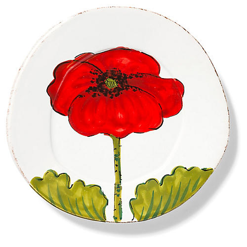 Lastra Poppy Salad Plate, Red/Multi