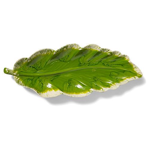 Reactive Leaf Serving Platter, Green