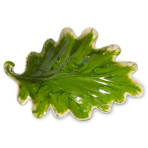 Reactive Leaf Serving Bowl, Green