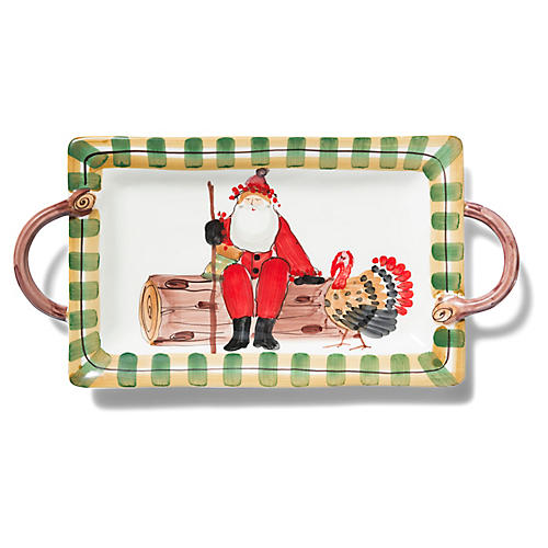 Old St. Nick Handled Platter, Red/Multi