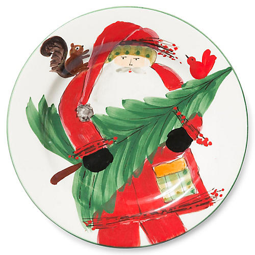 Old St. Nick Salad Plate, Red/Multi