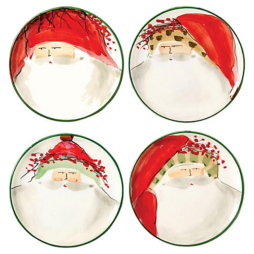 S/4 Old St. Nick Canapé Plates, Red/Multi