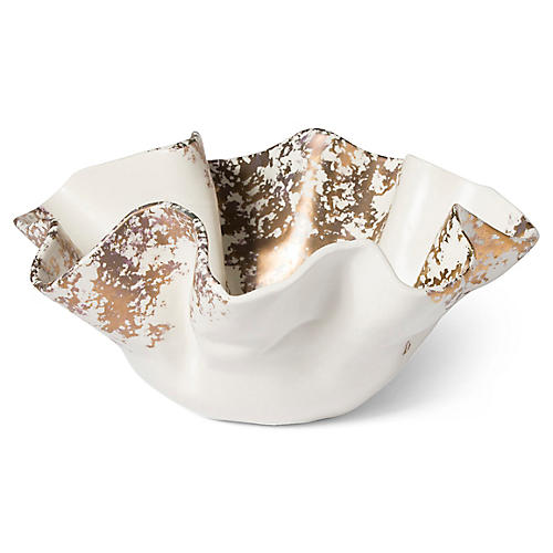 Scattered Matte Bowl, White/Gold