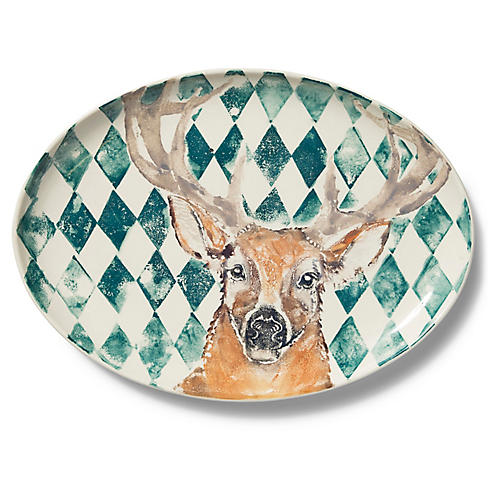 Into the Woods Deer Large Oval Platter, Brown