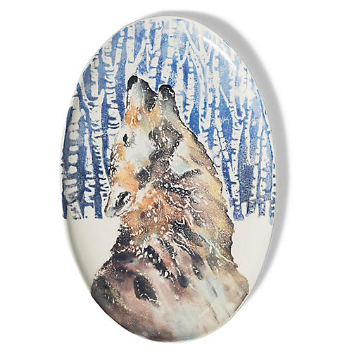 Into the Woods Wolf Oval Platter, Brown/Multi