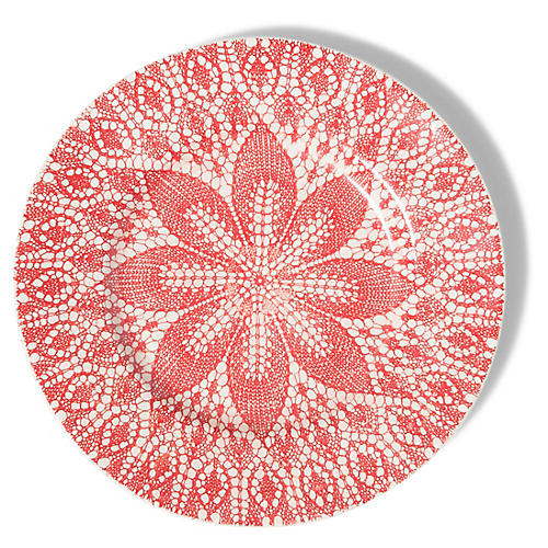 Viva Lace Dinner Plate, Red/White