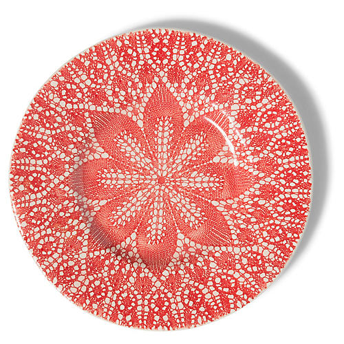 Viva Lace Salad Plate, Red/White