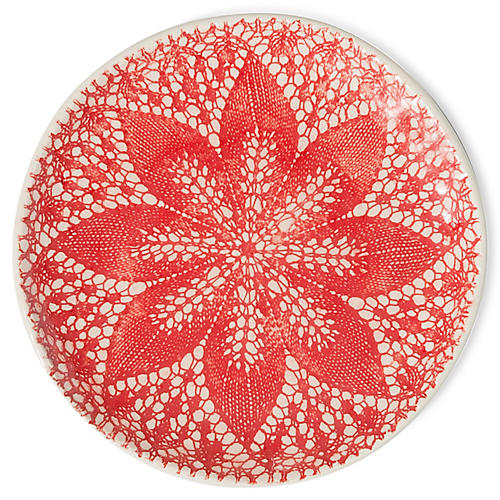 S/4 Viva Lace Cocktail Plates, Red/White