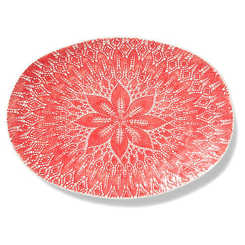 Viva Lace Platter, Red/White