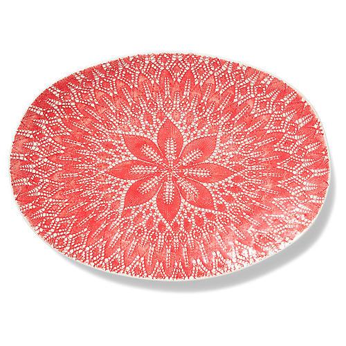 Viva Lace Platter, Red/White