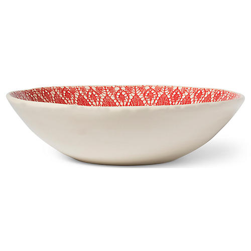 Viva Lace Serving Bowl, Red/White