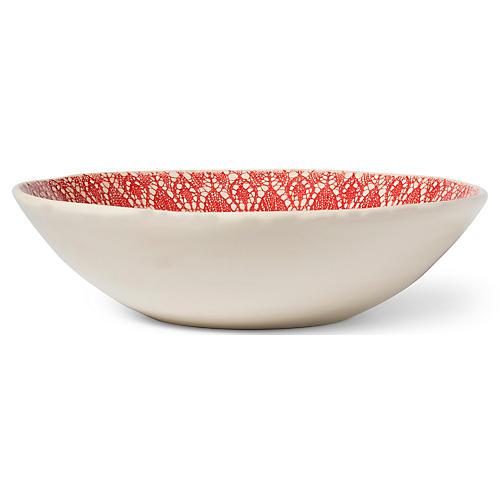 Viva Lace Serving Bowl, Red/White