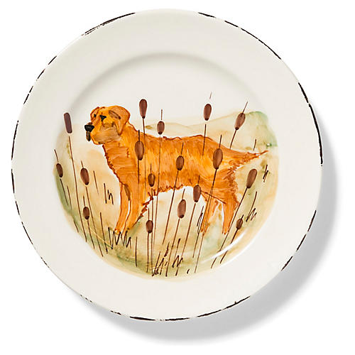 Wildlife Hunting Dog Dinner Plate, White/Multi