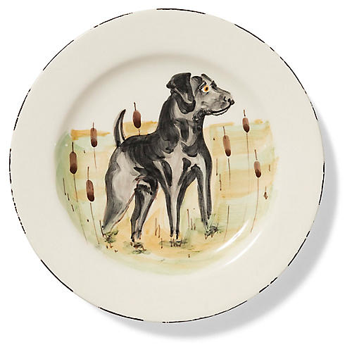 Wildlife Black Hunting Dog Salad Plate, White