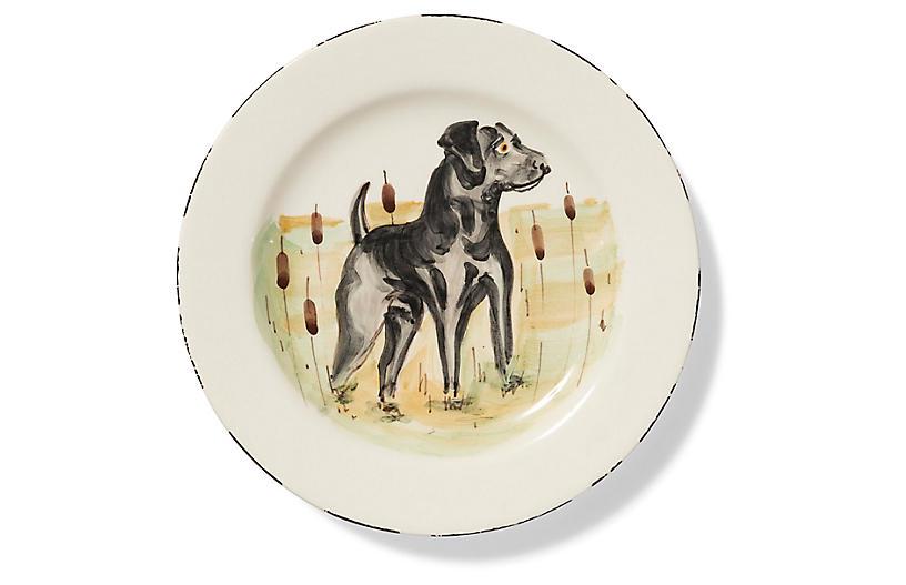 Wildlife Black Hunting Dog Salad Plate, White