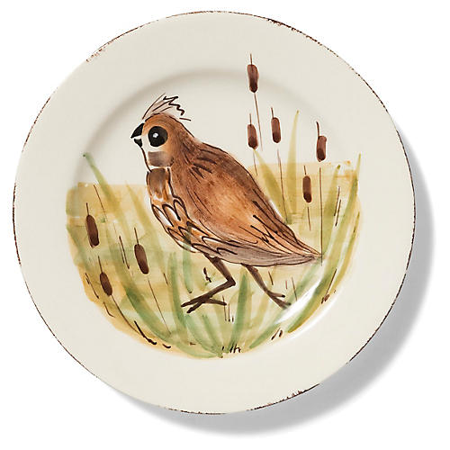 Wildlife Quail Salad Plate, White/Multi