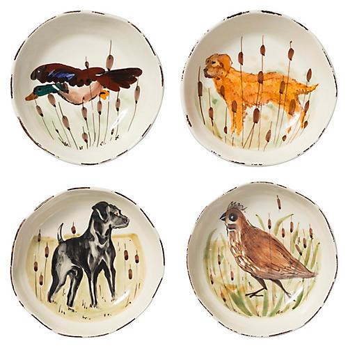 Asst. of 4 Wildlife Pasta Bowls, White/Multi