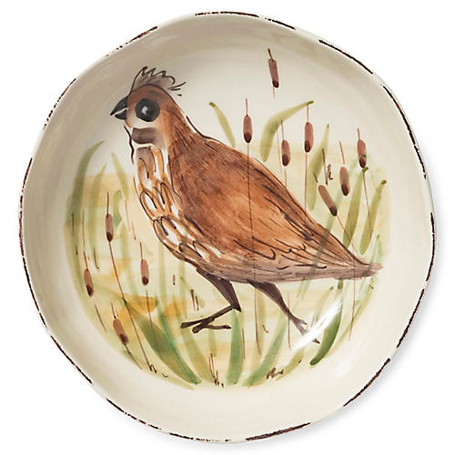 Wildlife Quail Pasta Bowl, White/Multi