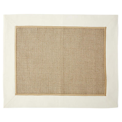 S/2 Whipstitch Ivory Woven Place Mat, Beige