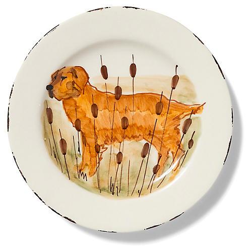 Wildlife Hunting Dog Salad Plate, White/Multi