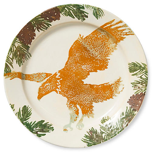 Foresta Eagle Round Rimmed Platter, White/Multi